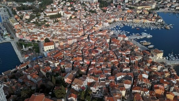 Thumbnail for Flight over Rovinj Old Town and Church in Croatia