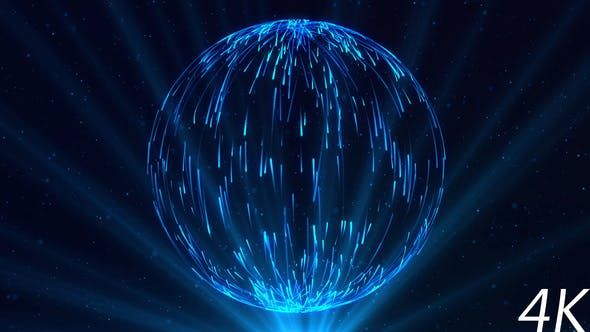 Thumbnail for Abstract Sphere of Blue Particles with Light Rays
