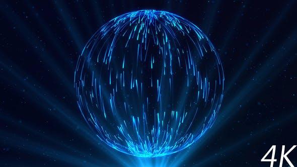Thumbnail for Abstrakte Kugel der blauen Partikel mit Lichtstrahlen
