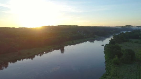 Thumbnail for Aerial Landcape of River in Green Meadows