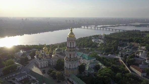 Cover Image for Aerial View of Kiev-Pechersk Lavra Ukrainian Orthodox Monastery