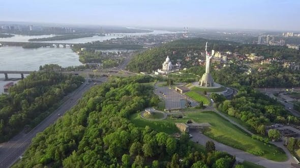 Cover Image for Drone Video of Mother Motherland Monument in Kiev, Ukraine