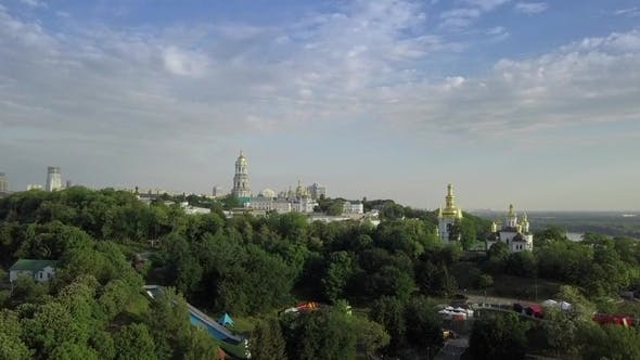 Thumbnail for Aerial View of Kiev-Pechersk Lavra Ukrainian Orthodox Monastery