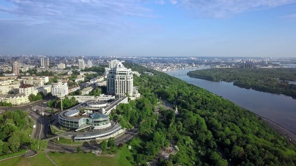 Thumbnail for Aerial Top View of Kyiv and Dnieper River