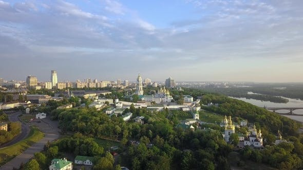 Thumbnail for Aerial View of Kiev-Pechersk Lavra Ukrainian Orthodox Monastery