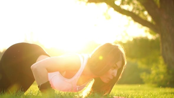Cover Image for Push ups or Press ups Exercise by Young Woman on Grass