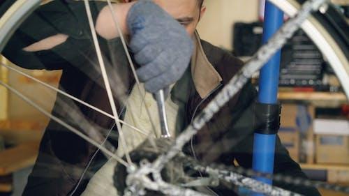 Professional Bike Repairman Is Busy Fixing Mechanism of Bicycle Wheel Rotating It