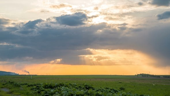 Thumbnail for Sunset Over Agricultural Green Field.