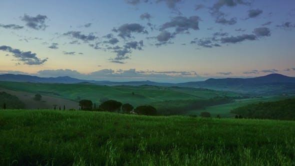 Toskana Hügel Landschaft bei Sonnenaufgang
