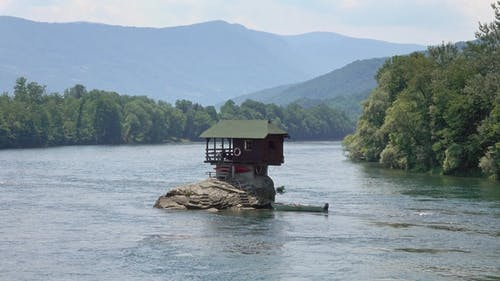 Lonely House on Drina River in Serbia