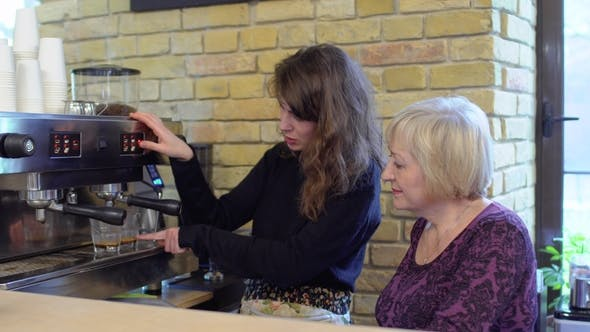 Thumbnail for Barista Teach Granny To Make Coffee with Coffee Machine