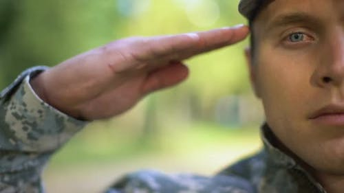 Military Serviceman Saluting, Protection Strategy, War Mission, Armed Forces