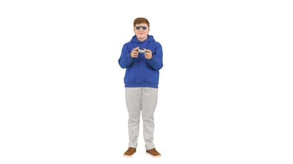 Thumbnail for Teenage Boy Playing Videogames and Winning on White Background.