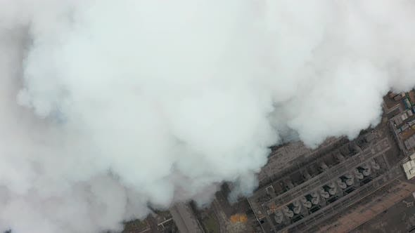 Thumbnail for Emission To Atmosphere From Industrial Pipes. Smokestack Pipes Shooted with Drone. Aerial