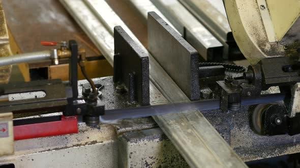 Saw in the Workplace Metall Profiles Cut Iron Profiles
