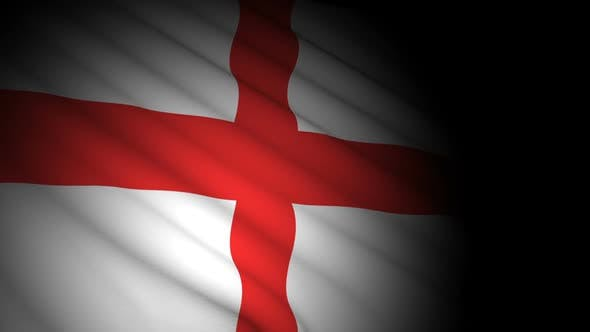 England Flag Blowing in Wind
