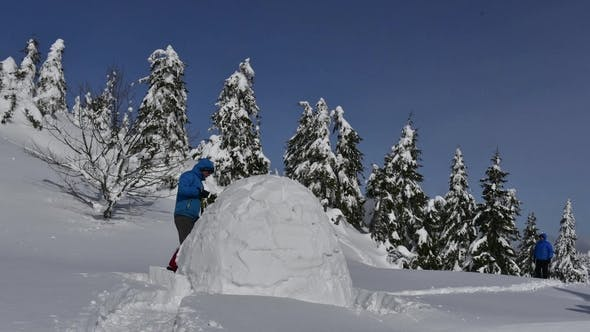 Thumbnail for Snow Igloo Building in the High Mountain