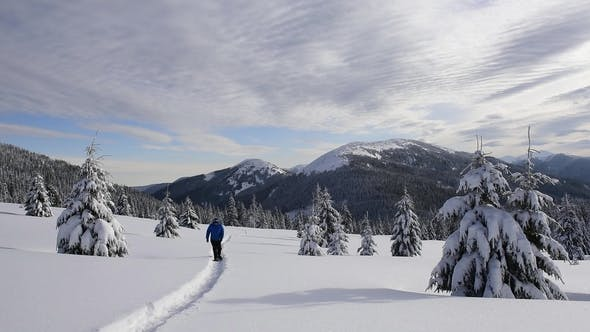 Cover Image for Alone Tourist in the High Mountains in Winter Time