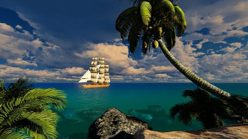 Sailing Ship In The Bay With Clear Water