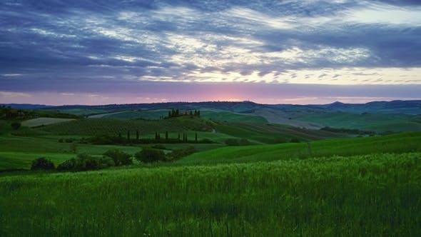 Thumbnail for Tuscany Landscape Sunrise Farm House and Hills