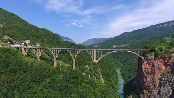 Thumbnail for View on Djurdjevica Arch Bridge Over Tara