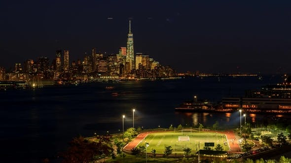 Thumbnail for Bluehour Night, Lower Manhattan Financial District Wolkenkratzer gesehen vom Weehawken Waterfront Park
