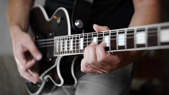 Thumbnail for Man's Hands Playing the Funky Rhythm on Electric Guitar, Electric Musical Instruments, Playing Loud