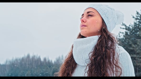 Thumbnail for Young Happy Woman Enjoy Snow in Winter City Park Outdoor