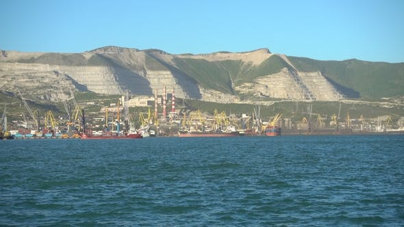 Thumbnail for Large Russian Port, Cargo and Oil Terminal. The Ship Enters the Port