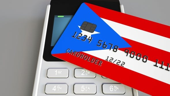 Cover Image for POS Terminal with Credit Card Featuring Flag of Puerto Rico