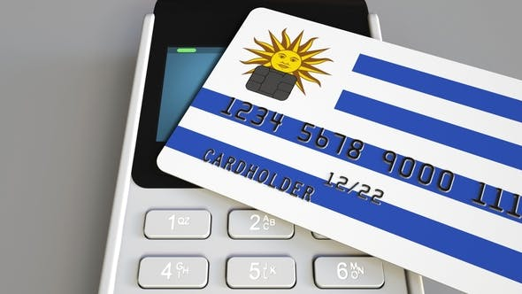 Cover Image for Payment Terminal with Credit Card Featuring Flag of Uruguay