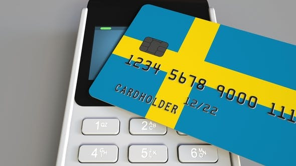 Thumbnail for Payment Terminal with Credit Card Featuring Flag of Sweden