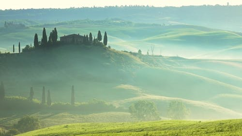 Tuscany Sunrise with Farm House and Hills