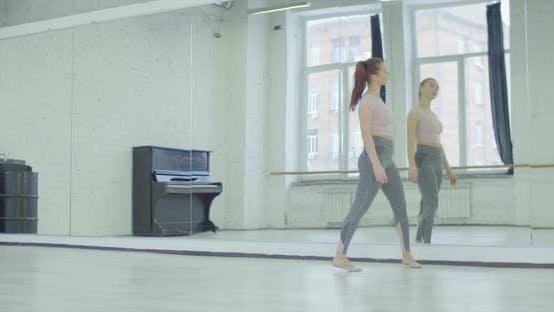 Thumbnail for Upset Woman Leaning on Big Mirror in Dance Studio