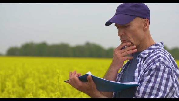Thumbnail for Agriculture Farmer Taking Notes at Rapeseed Field