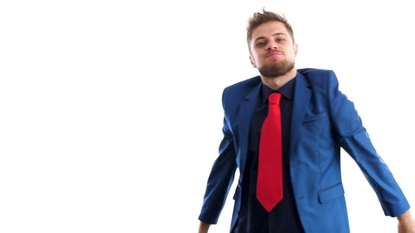 Thumbnail for Businessman in Blue Suit Dances Happy