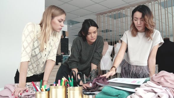 Thumbnail for Business Women Are Engaged in Creative Work. Fashion Designers Work in Their Small Studio
