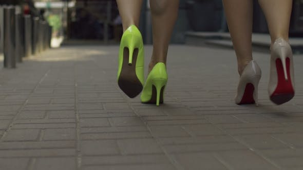 Thumbnail for Elegant Women in High Heels Taking a Walk on Street