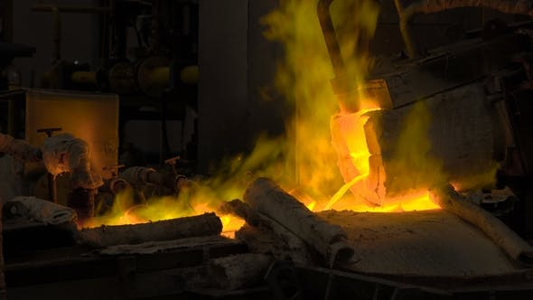 Thumbnail for Hot Steel Pouring at Steel Plant. In the Frame, Molten Metal Is Poured Through Special Channels