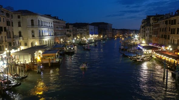 Thumbnail for View on Grand Canal From Rialto Bridge at Night
