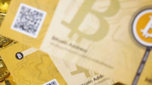 Thumbnail for Digital Money Bitcoins Banknoten Fliegen und fallen nach unten