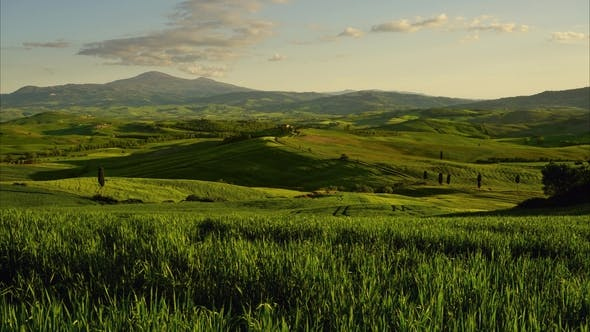 Thumbnail for Tuscany at Sunset with Farm House and Hills