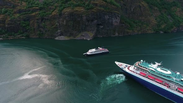 Thumbnail for Cruise Ship, Cruise Liners On Sognefjord or Sognefjorden, Norway