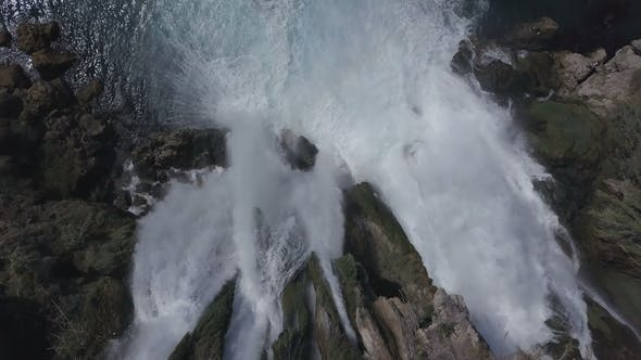 Thumbnail for Aerial Footage of the Waterfall and Blue Sea