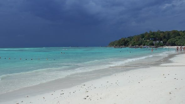 Thumbnail for White Sandy Beach and Stormy Sky, Koh Lipe