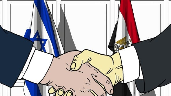 Thumbnail for Businessmen or Politicians Shake Hands Against Flags of Israel and Egypt
