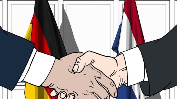Thumbnail for Businessmen or Politicians Shaking Hands Against Flags of Germany and Netherlands