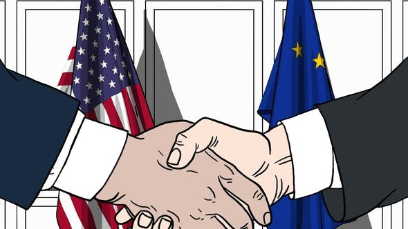 Thumbnail for Businessmen or Politicians Shaking Hands Against Flags of USA and EU