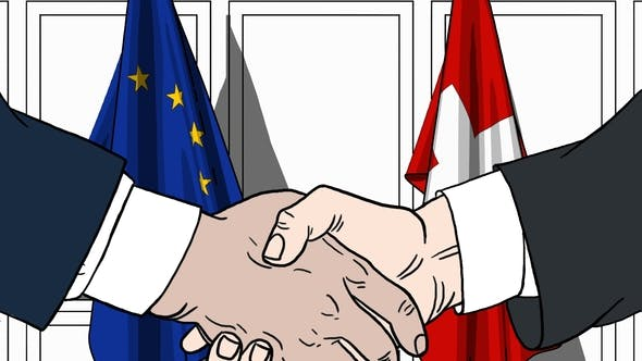 Thumbnail for Politicians Shaking Hands Against Flags of EU and Switzerland