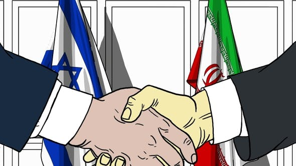 Thumbnail for Businessmen or Politicians Shake Hands Against Flags of Israel and Iran